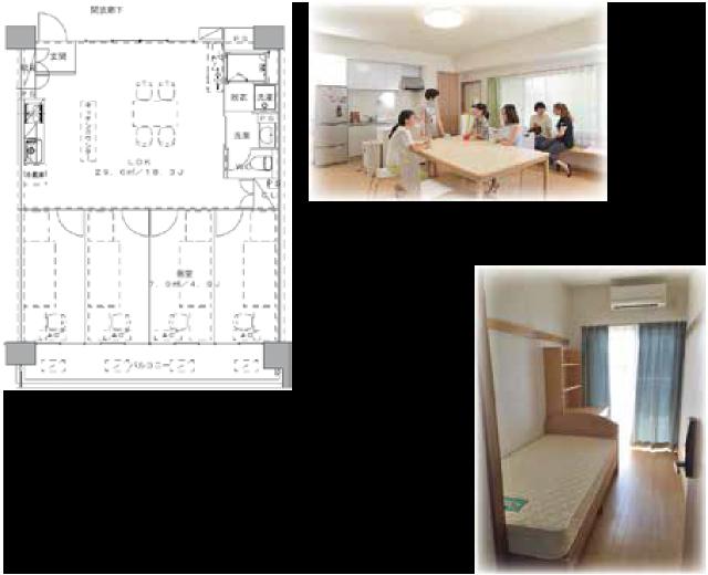 岡山大学国際学生シェアハウス LDK(29.6㎡)個室(7.9㎡)